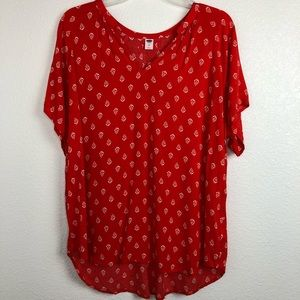 Old Navy red orange floral shirt sleeve blouse